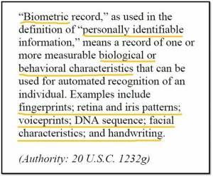 Biometric Definition FEDERAL