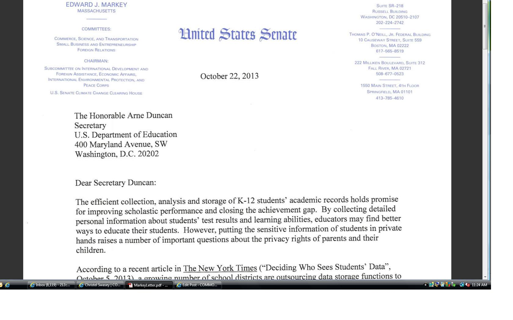 students privacy rights common core markey letter on data