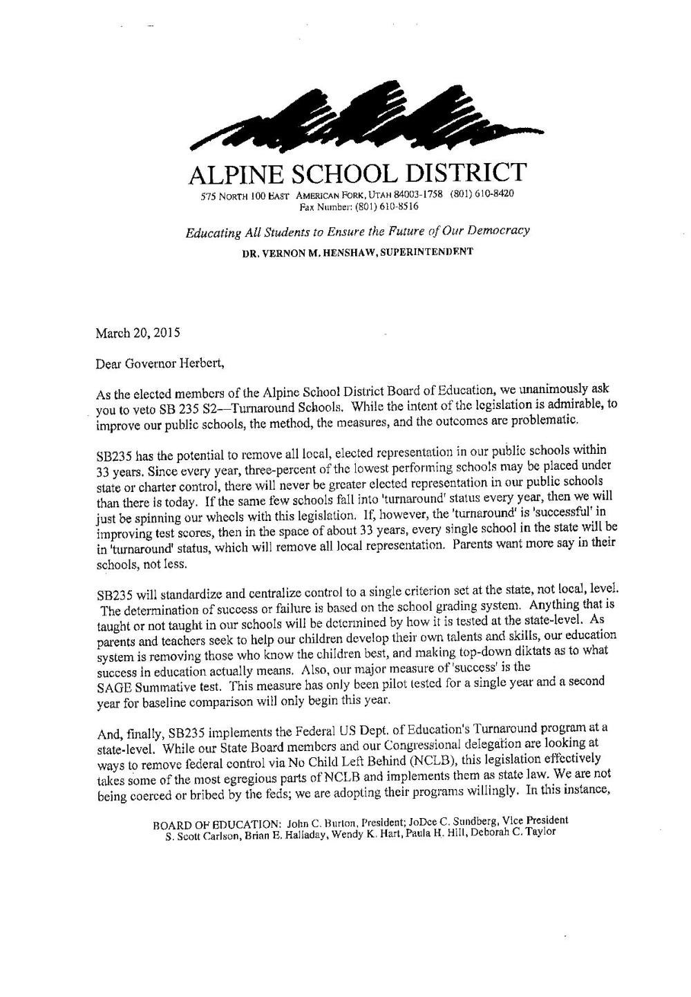 alpine page one veto